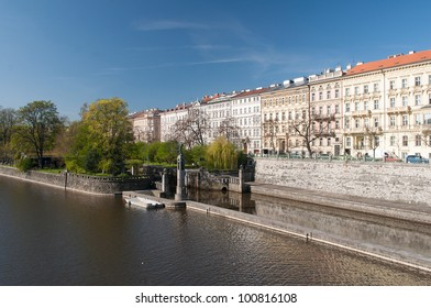 Embankment of the Vltava River in Prague