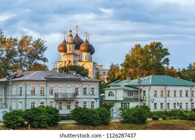 Embankment of the Vologda river and  Church of St. Nicholas, Vologda, Russia
