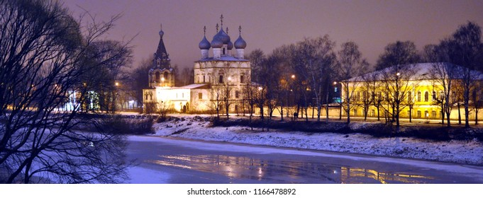 embankment of the Vologda River, in the evening, the city of Vologda, Russia, winter,