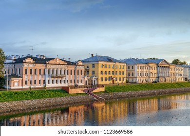 Embankment of the Vologda river with historical houses in Vologda, Russia