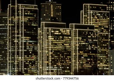 Embarcadero Center with edge lighting effects. San Francisco, California, USA.