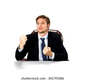 Embarrassed Caucasian man with short medium blond hair in business formal outfit being in boxing stance - Isolated