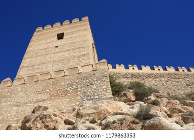 Embattled wall in the Alcazaba of Almeria, medieval moorish fortress dating from the 10th century.