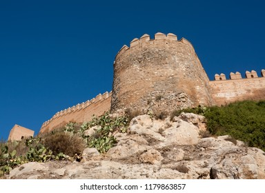 Embattled wall in the Alcazaba of Almeria, medieval Arabic fortress dating from the 10th century.