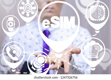 Embedded SIM. eSIM - electronic sim phone new mobile communication technology. Mobility device internet call digital card chip.