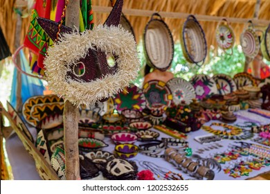 Embera Village, Chagres, Panama - authentic handcraft sold to tourists. The Embera indigenous people still live today as many decades ago in their original homes deep in the Darien.