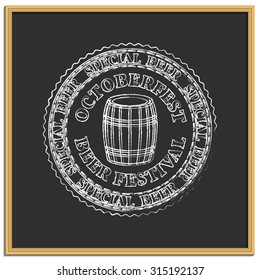 Emblem Beer Festival Oktoberfest drawn  in chalk on a black background, part two