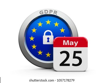 Emblem of European Union with calendar button - May 25 - represents the Implementation date 2018 of GDPR - General Data Protection Regulation, three-dimensional rendering, 3D illustration