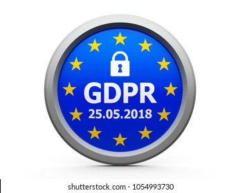Emblem of flag of European Union  with text and symbol of padlock - represents the Implementation date 2018 of GDPR - General Data Protection Regulation, three-dimensional rendering, 3D illustration
