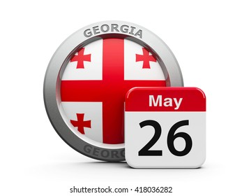 Emblem of Georgia with calendar button - The Twenty Sixth of May - represents the Georgia independence day, three-dimensional rendering, 3D illustration