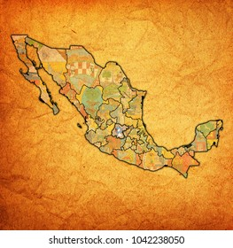 emblem of guanajuato state on map with administrative divisions and borders of Mexico