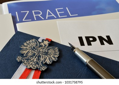 Emblem of Poland and the inscription Israel