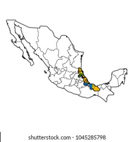 emblem of Veracruz state on map with administrative divisions and borders of Mexico