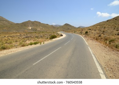 Emblematic and idyllic road in the cabo de gata-níjar natural park, Almeria, Andalusia, Spain