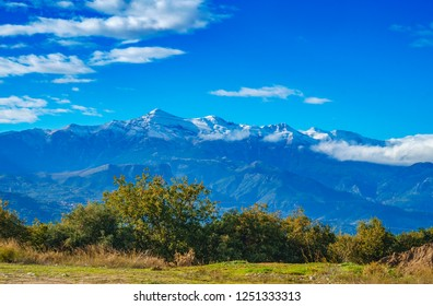 The emblematic Taygetus mountain with its highest peak covered with snow. It is the highest mountain of the range in Southern Greece, Europe.