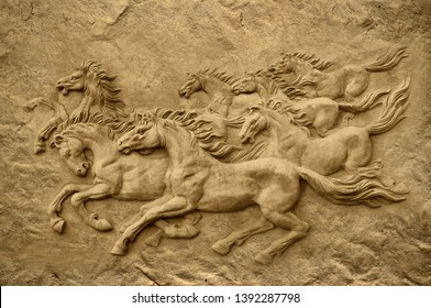 Emboss 3D stone carving seven running horses on decorative textured wall background 3D wallpaper. Graphical poster modern artwork