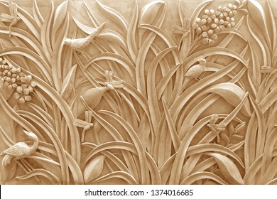 Emboss wheat plant 3D pattern decorative texture surface ivory background 3d wallpaper. Abstract Artwork modern art.