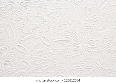 Embossed Floral Pattern on White Paper