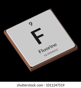 Embossed isolated metal plate displaying the chemical element Fluorine, its atomic weight, periodic number, and symbol on a black background. This image is a 3d render.