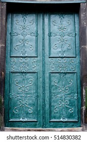 embossed metallic green-blue Portal background with baroque details and with buttons and metal gold  flowers