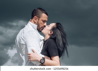 Embrace and kiss. Couple in french kiss. In love and i love you. Sensual embrace couple kiss. Couple In Love. Romantic and love. Intimate relationship and sexual relations. Passion and sensual touch
