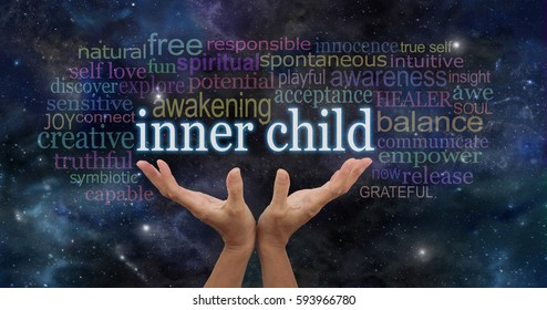 Embrace your Inner Child - female hands stretching up palms open with the words INNER CHILD floating above surrounded by  a relevant word cloud on a dark blue  starry night sky background