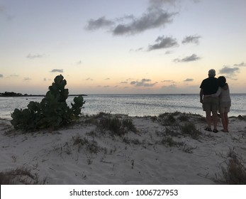 An embraced couple admires the sunset from the Palm Beach of Aruba.