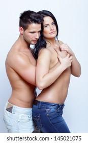 Embracing passionate couple portrait