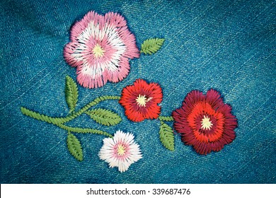 embroider flower on jeans