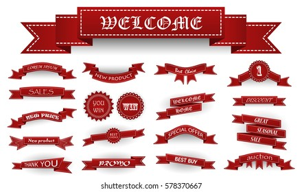 Embroidered burgundy vintage ribbons and stumps with business text and shadows isolated on white. Can be used for banner, award, sale, icon, logo, label etc.