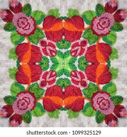 Embroidered fabric with colored micro glass beads. Seamless pattern.