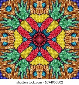 Embroidered fabric with micro colored glass beads. Seamless pattern.