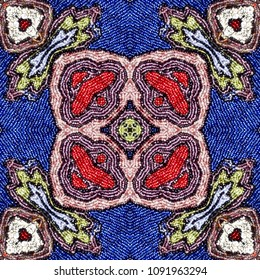 Embroidered fabric with micro glass colored beads. Seamless pattern.