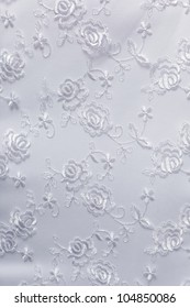 embroidered fabric part of wedding dress