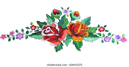 Embroidered floral folklore composition. Hand embroidered roses in retro style. Embroidery design on white fabric. Handmade.