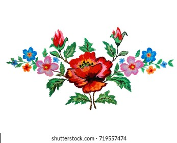 embroidered flowers in a bouquet isolated on a white background, fabric decor, Ukrainian folk handmade