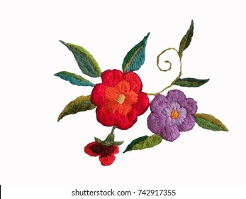 embroidered flowers isolated on a white background, Ukrainian hand embroidery, national folk