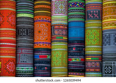 Embroidered panels used for wall decoration.  Vietnamese hand embroidery is a 700-year-old tradition. Usually, tiny threads are used to create brightly colored pictures on cloth.