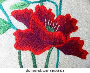 embroidered poppies on white fabric, Ukrainian folk embroidery, decorated fabric