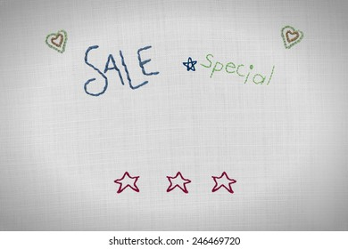 Embroidered Sale sign, with other shapes