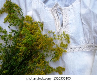 Embroidered shirt and yellow flowers