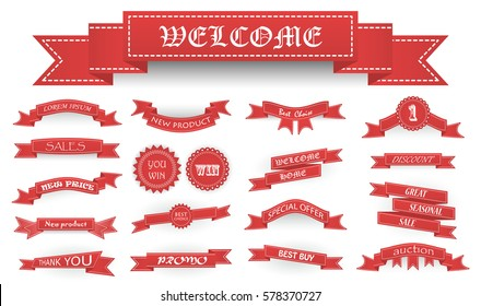 Embroidered soft red vintage ribbons and stumps with business text and shadows isolated on white. Can be used for banner, award, sale, icon, logo, label etc.