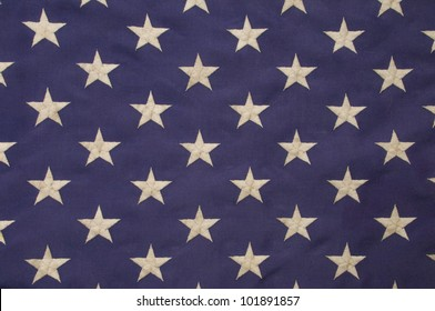 Embroidered white stars on a field of blue which represents the union on the American flag