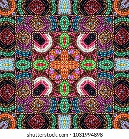 Embroidery colorful glass beads pattern.