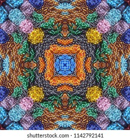 Embroidery colorful glass beads seamless pattern.
