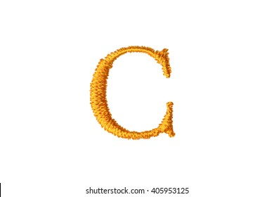 Embroidery Designs alphabet C isolate on white background
