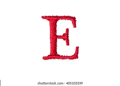 Embroidery Designs alphabet E isolate on white background