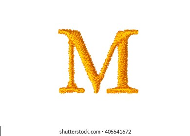 Embroidery Designs alphabet M isolate on white background