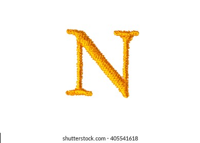 Embroidery Designs alphabet N isolate on white background