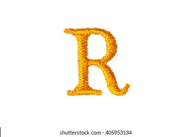 Embroidery Designs alphabet R isolate on white background
